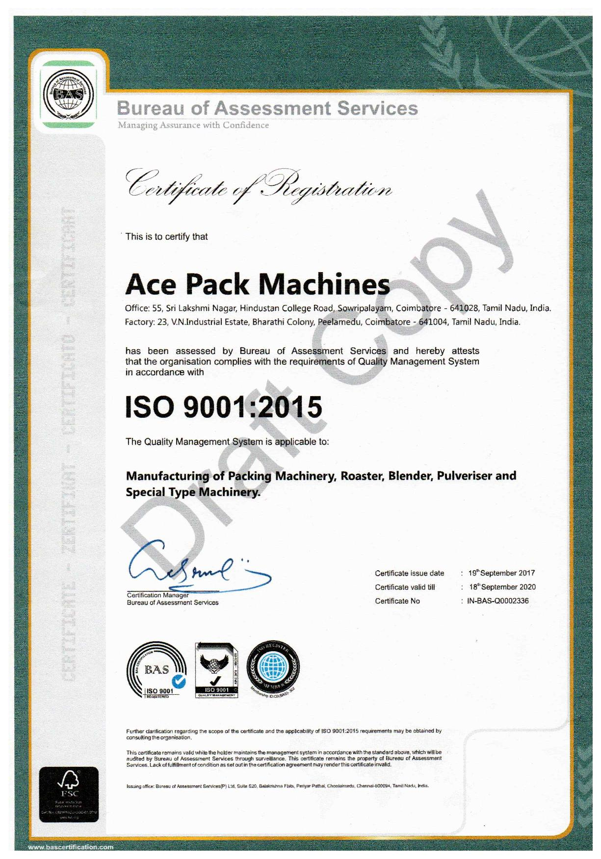 Ace Pack Machines - ISO 9001 : 2015 Company